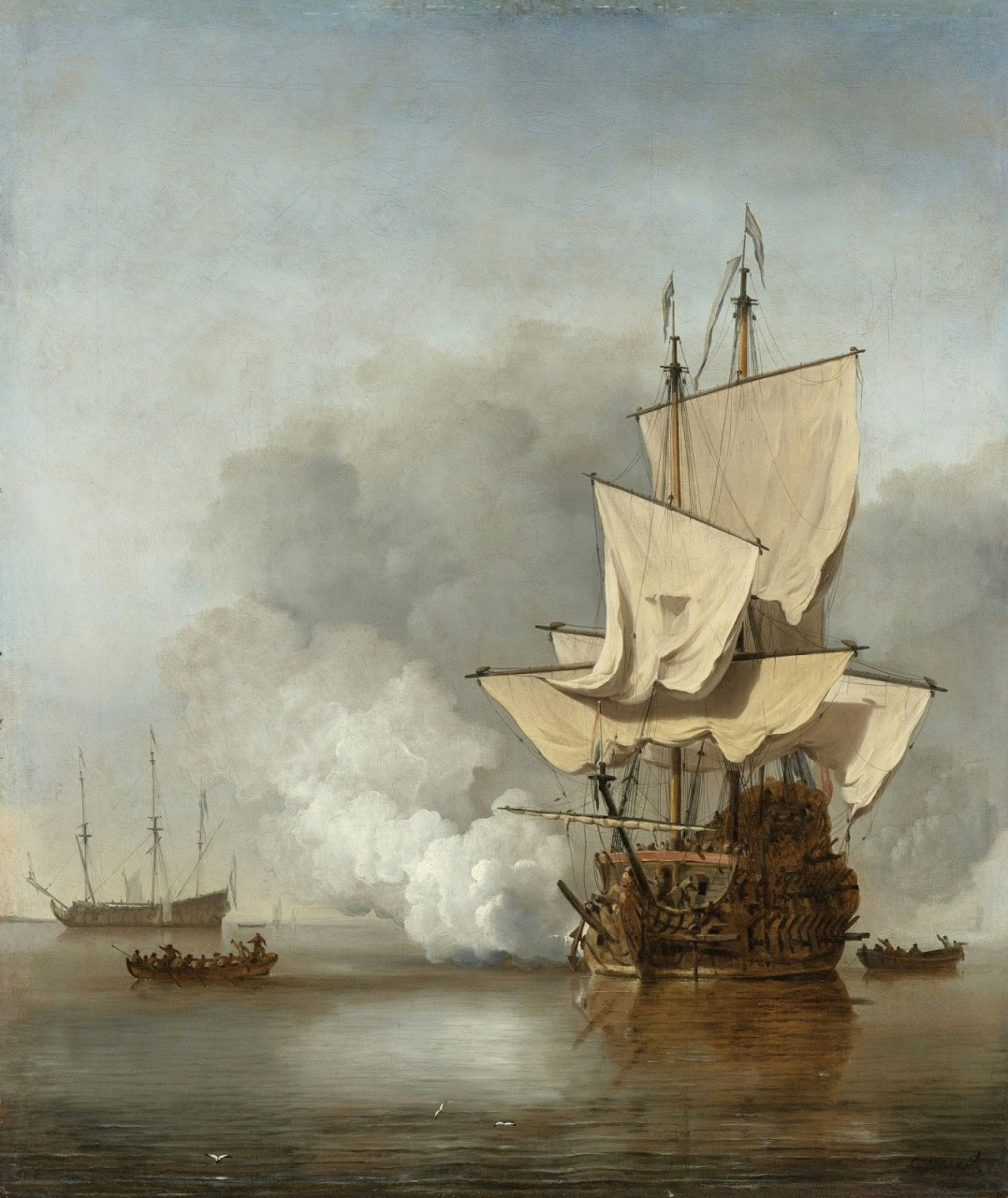 Корабли в живописи — Виллем ван де Вельде младший