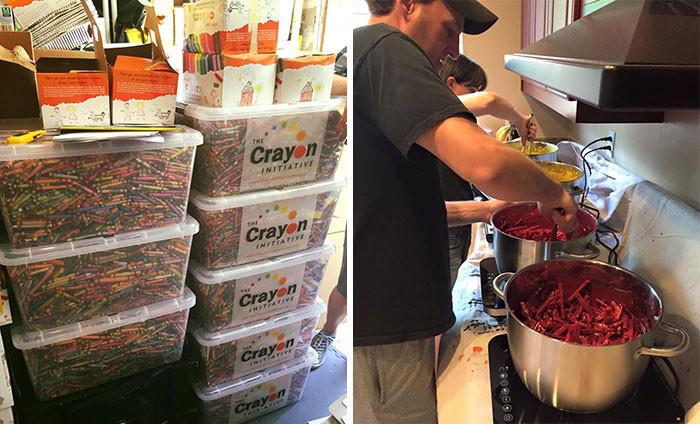 Каждый год рестораны и школы выкидывают до 34000 кг восковых карандашей на мусорку карандаш, переработка, ребенок