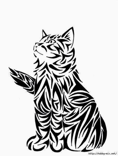Кошка. Трафарет