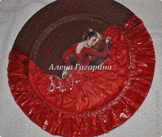 Декор предметов Мастер-класс Декупаж Тарелка Фламенко Бумага фото 19