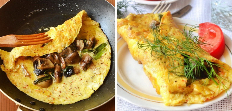7. Омлет с грибами по-испански еда, завтрак, омлет