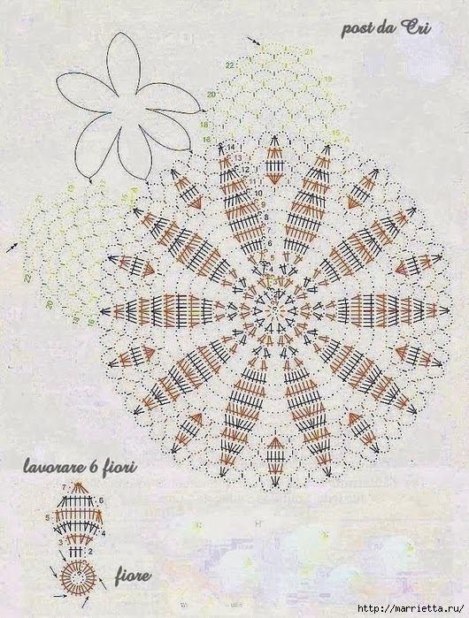 Круглые салфетки крючком. Схемы (11) (530x699, 277Kb)