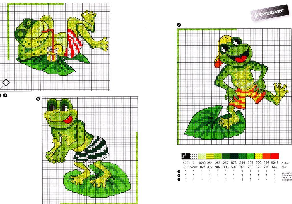 Схемы вышивки крестиком лягушки и жабы 96
