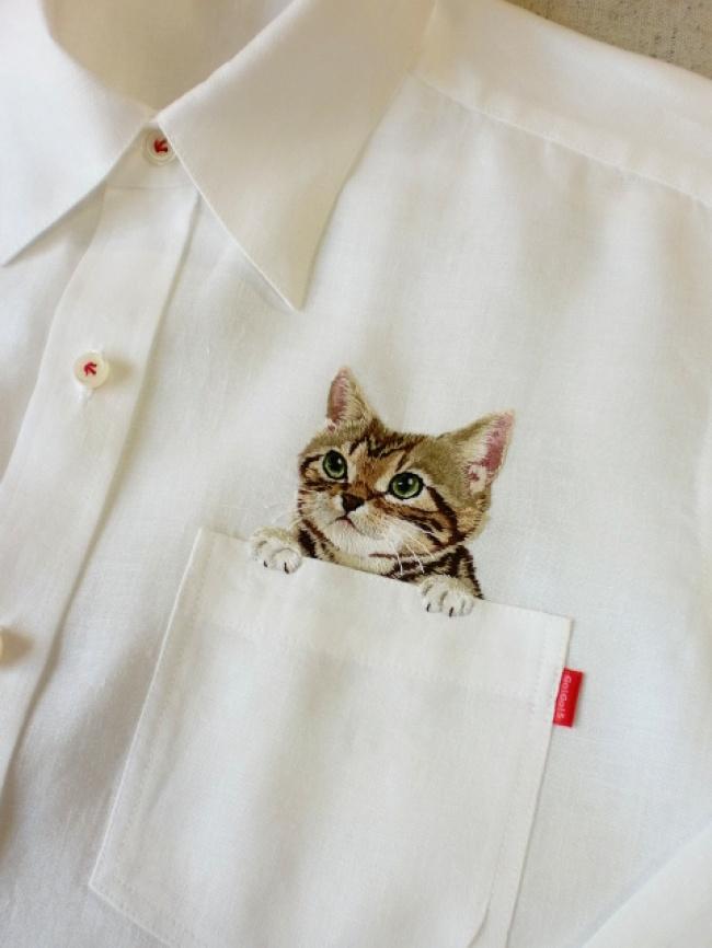 Котики в карманах (вышивка на рубашках)