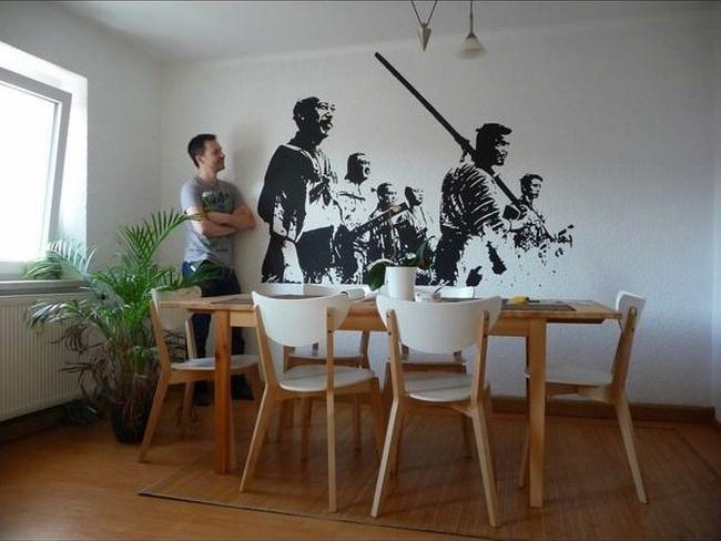 Как нарисовать черно-белую картину у себя на стене картина, нарисовал, стена