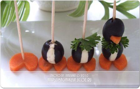 Как сделать пингвинчиков из маслин: мастер-класс