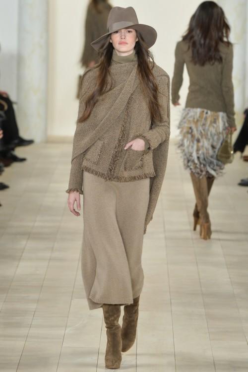 Ralph Lauren осень-зима 2015-2016, NYFW, knitwear, Неделя моды, вязана мода, кэмел, вязаное платье (фото 5)