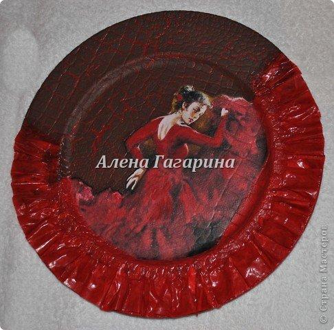 Декор предметов Мастер-класс Декупаж Тарелка Фламенко Бумага фото 17