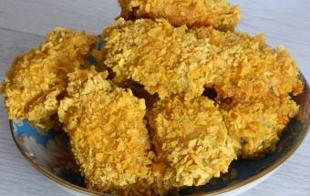 Куриные крылышки в кукурузных хлопьях в духовке