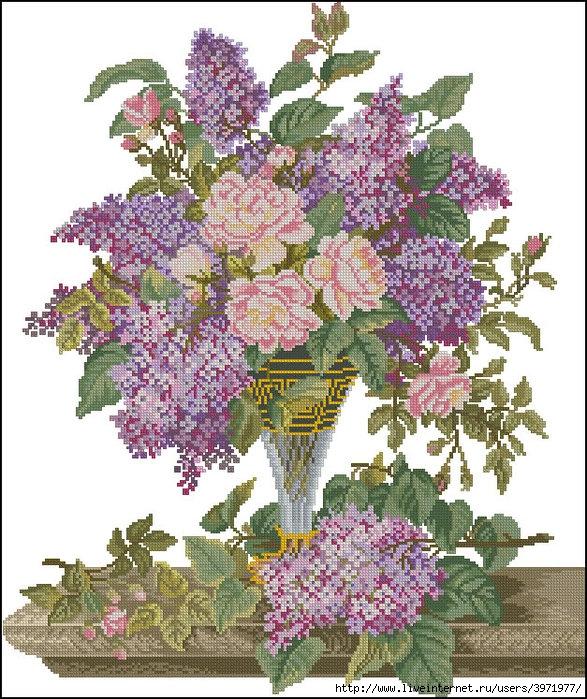 Схемы для вышивки крестом очаровательного букета цветов