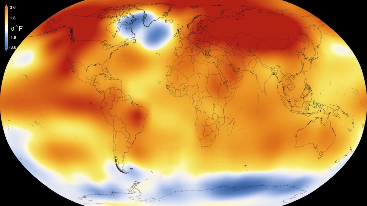 Динамика разогрева Земли с 1880 по 2015 год