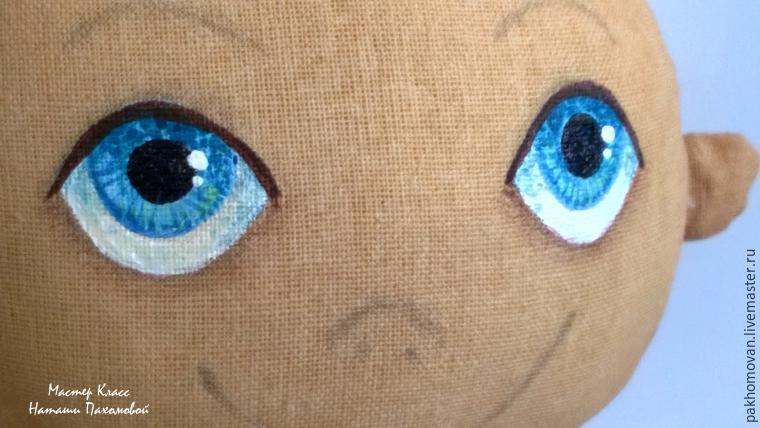 Нарисовать лицо кукле из ткани пошагово 8
