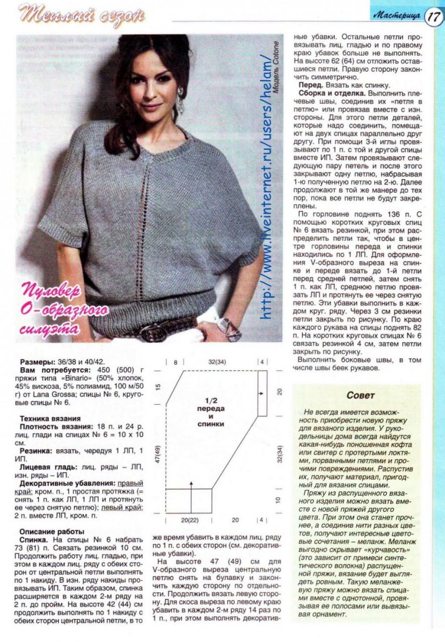 Вязание пуловера для женщин с описанием