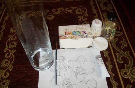материалы необходимые для росписи вазы красками
