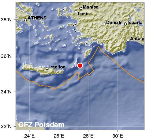 Зона Вранча: У берегов Греции зафиксировано землетрясение магнитудой 5,2