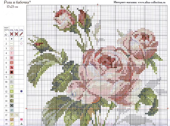 Вышивка роза и бабочка схема 3187