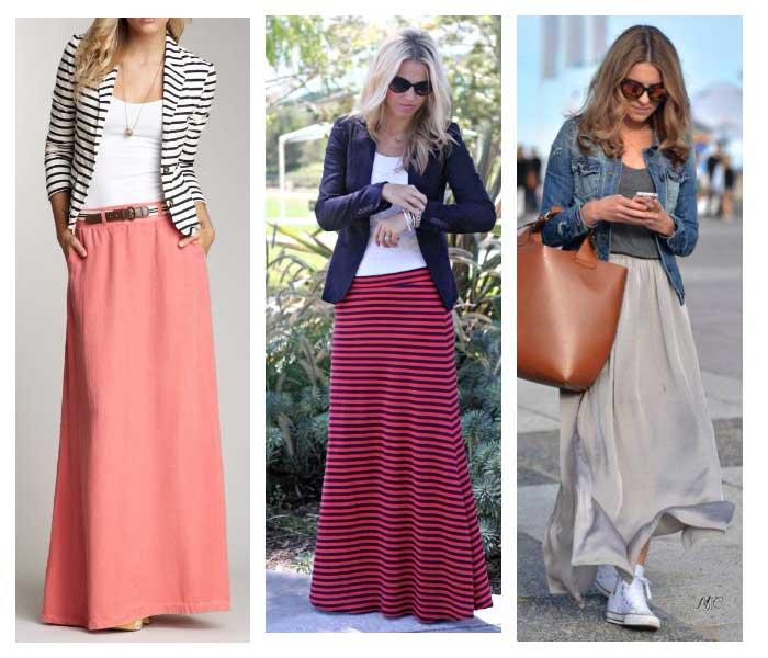 Длинная юбка с кардиганом