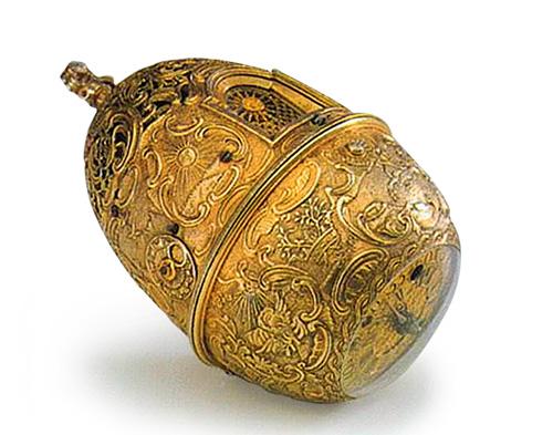 Знаменитые часы-яйцо, сработанные Кулибиным в 1764—1767 годах и подаренные Екатерине II на Пасху 1769 года. Ныне хранятся в Эрмитаже.