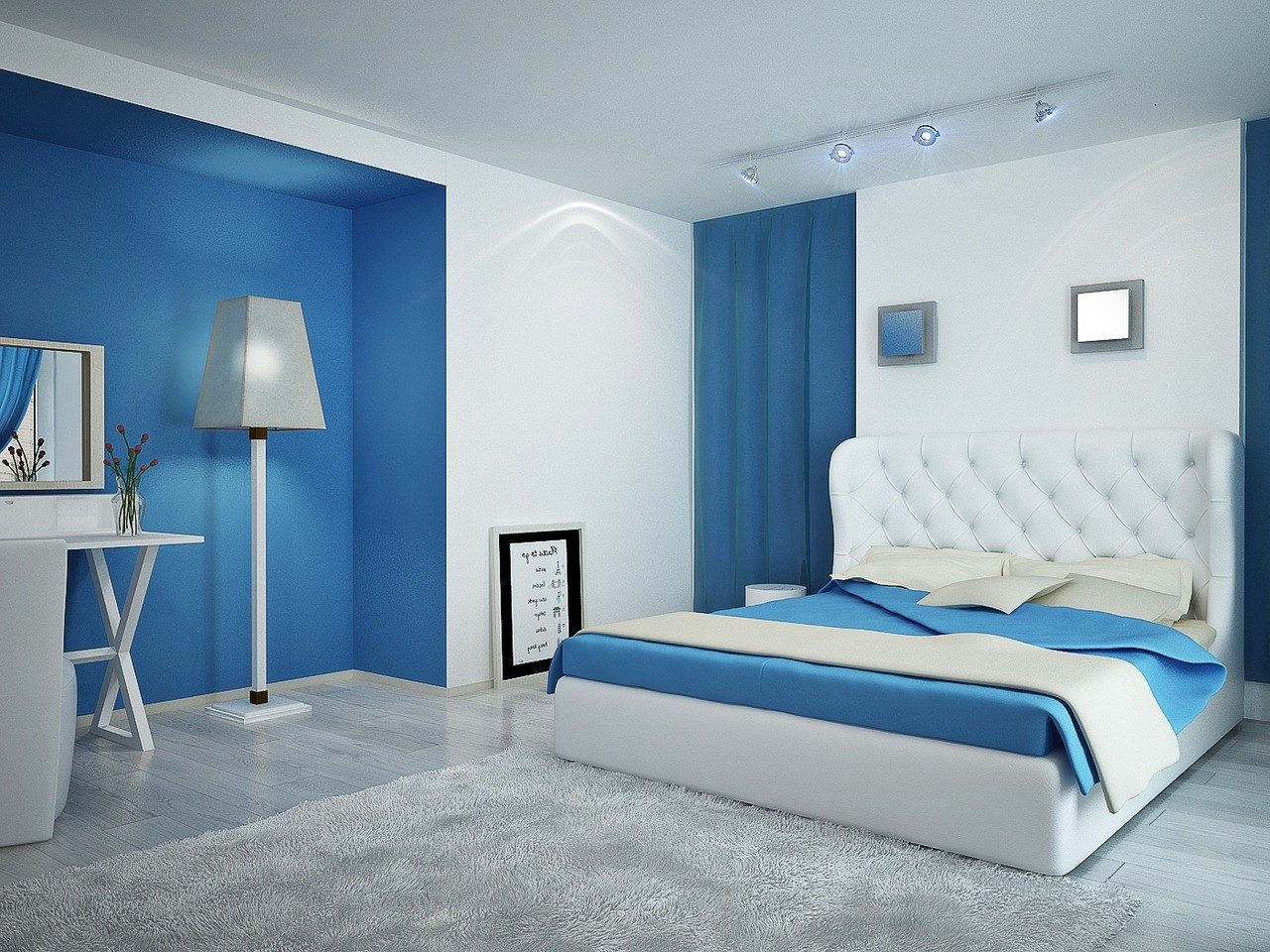 Дизайн в бело голубом цвете спальни