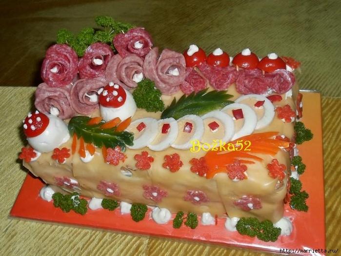 Соленый закусочный торт. Идеи оформления к ПАСХЕ (55) (700x525, 292Kb)