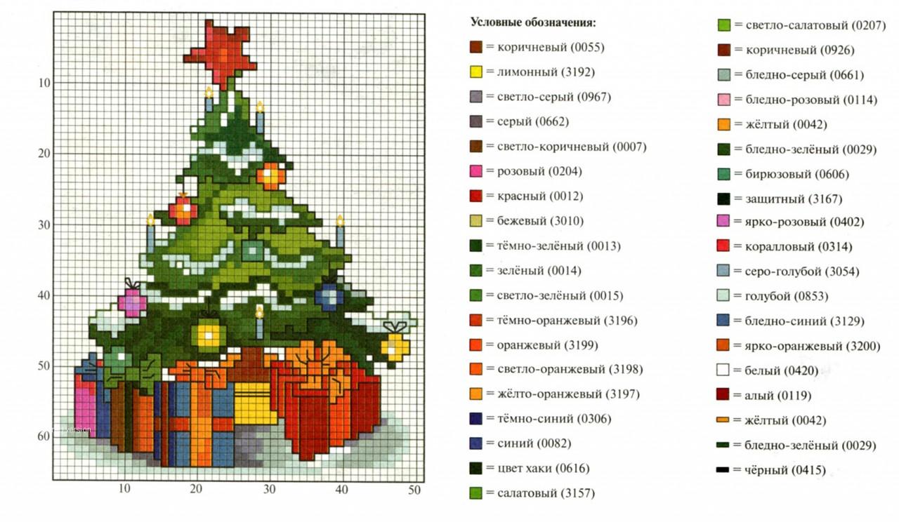 Схема вышивки крестиком елки 24