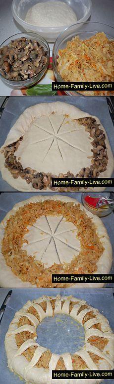 Пирог с капустой и грибами - пошаговый рецепт с фотоКулинарные рецепты: