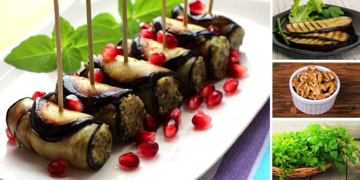 Рулеты из баклажанов с грецкими орехами.  Фото: anews.com.