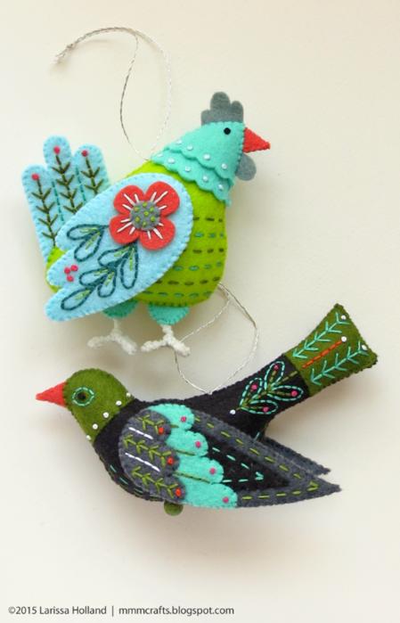 Райские птицы из фетра. Идеи (1) (449x700, 409Kb)