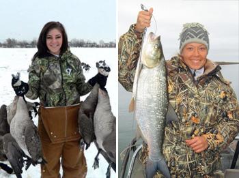 Женщина на охоте и рыбалке