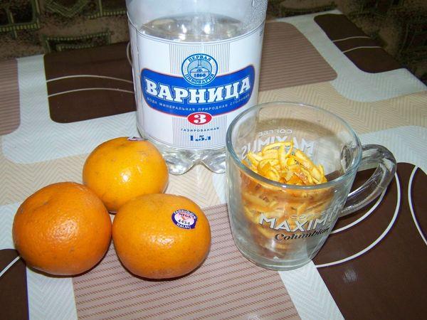 Шкурку 1 мандарина измельчить