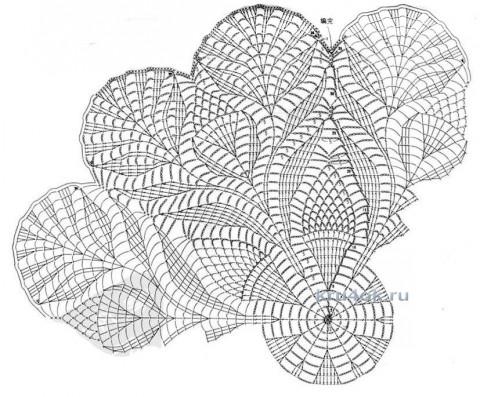Салфетка крючком. Работа Галины Леоновой вязание и схемы вязания