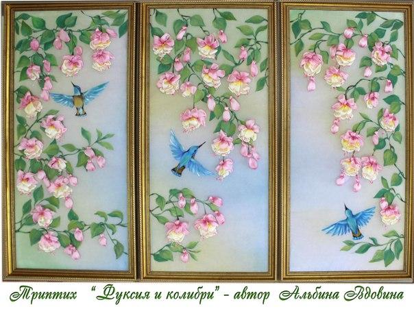 Картина из цветов из ткани своими руками 858