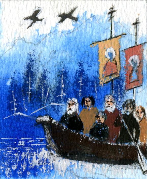 24 сентября 1794 года восемь русских миссионеров из Валаамского монастыря прибыли на остров Кадьяк к берегам Аляски. Оказавшись на Аляске, монахи сразу начали строительство храма и основали школу.