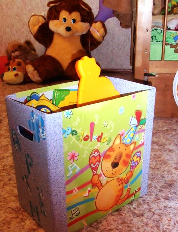 Как из коробки сделать ящик для игрушек