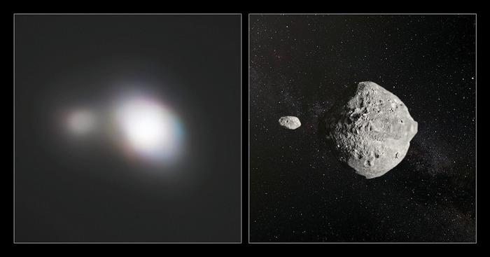 """Удачные кадры пролета близких к Земле астероидов - """"два в одном"""""""