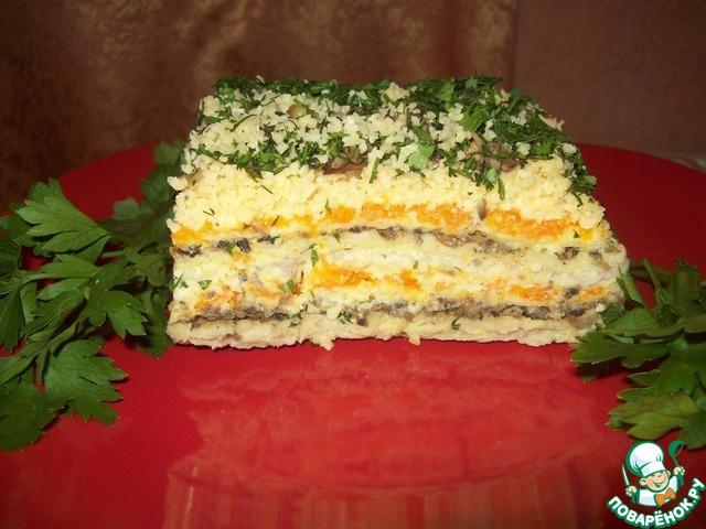 Закусочные торты из вафельных коржей с селедкой