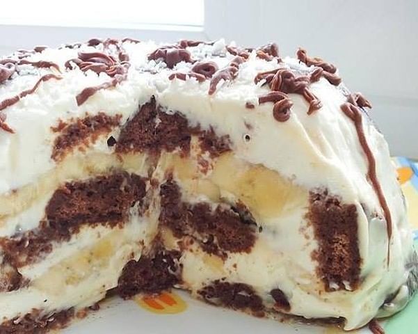 Тортик без выпечки - из готовых пряников и бананов. Неописуемо вкусный!