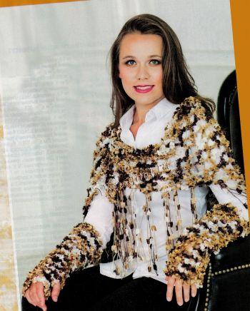Бежево-коричневый нарядный комплект: косынка и нарукавники, фото