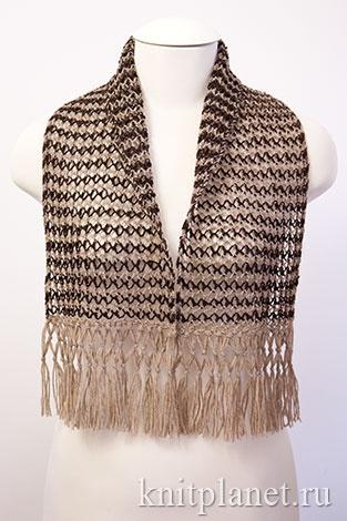 Вяжем кружевной шарф спицами