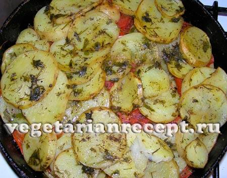Картошка в духовке с помидорами рецепт с фото пошагово