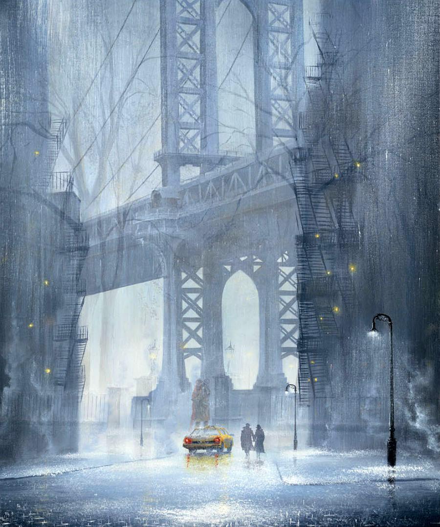 Прогулки под дождем...Художник Джефф Роланд (Jeff Rowland).