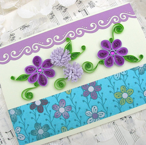 Paper Quilled Purple Rhinestone Daisies Handmade Greeting Card by Enchanted Quilling on Etsy