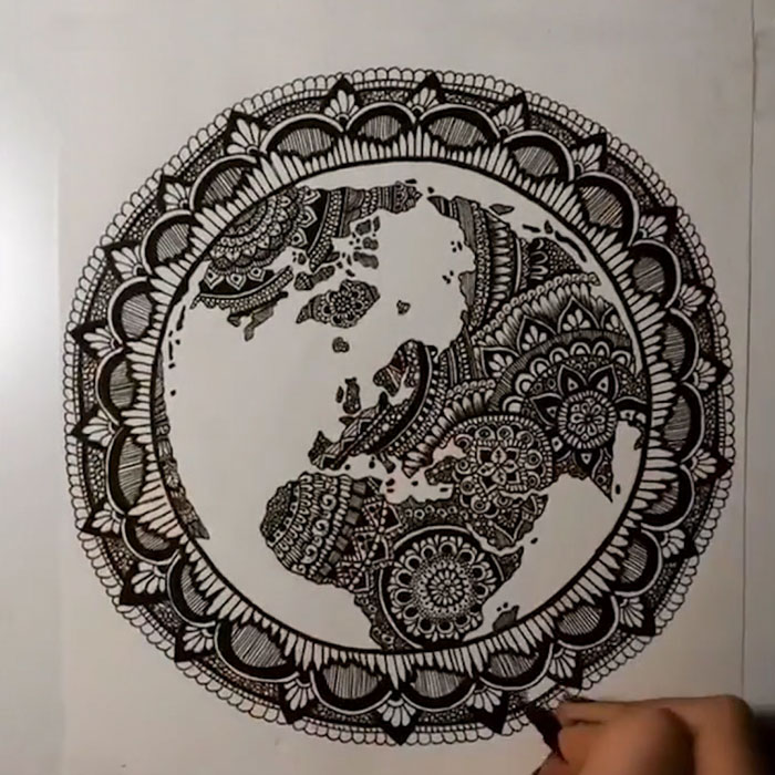 17-Year-Old Australian Artist Turns Our Planet Into An Intricate Mandala