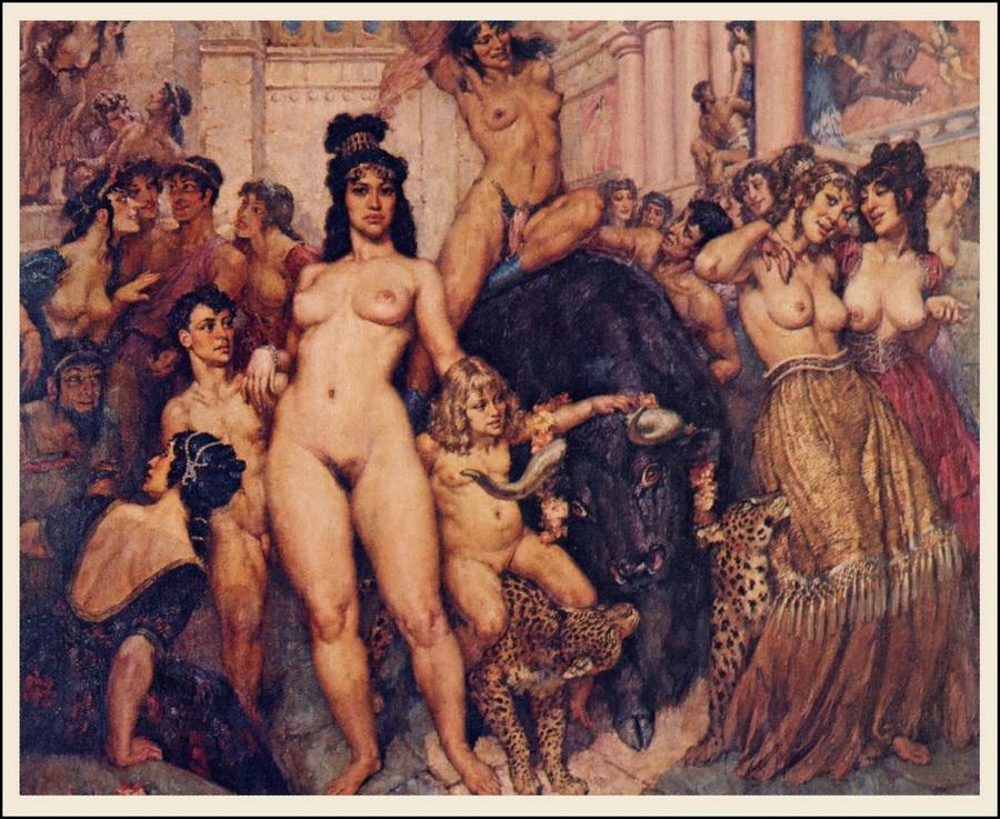 Прелестные нимфы, козлоногие обольстители и демоны в картинах Нормана Линдсея 10