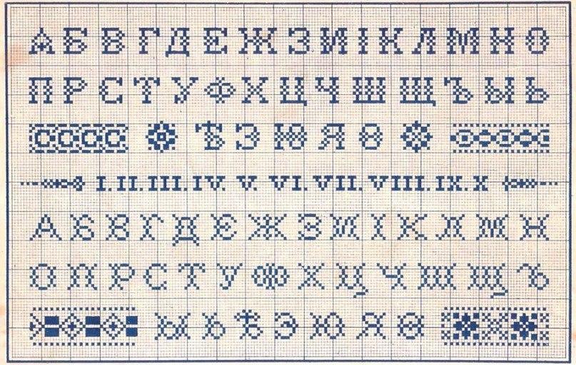 Вышивание схемы алфавита