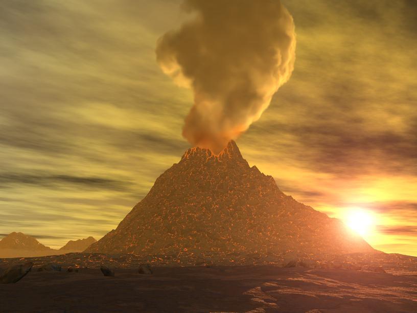 Извержение на вулкане Ринджа…