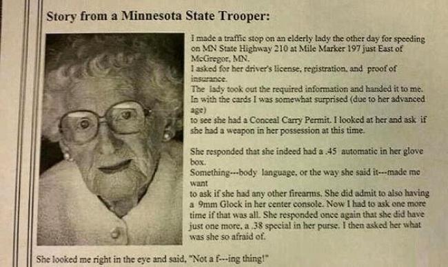 Как-то раз останавливает полицейский пожилую даму за превышение скорости...Дальше - такой слом шаблона, что лучше читать!