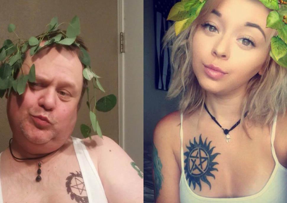 Папаша троллит дочь, пародируя ее селфи