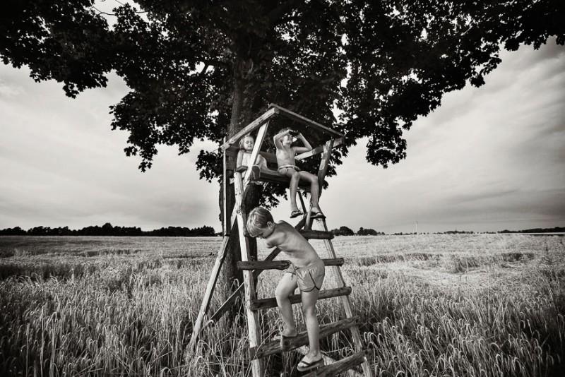 Летние каникулы в польской деревне - чёрно-белые фото