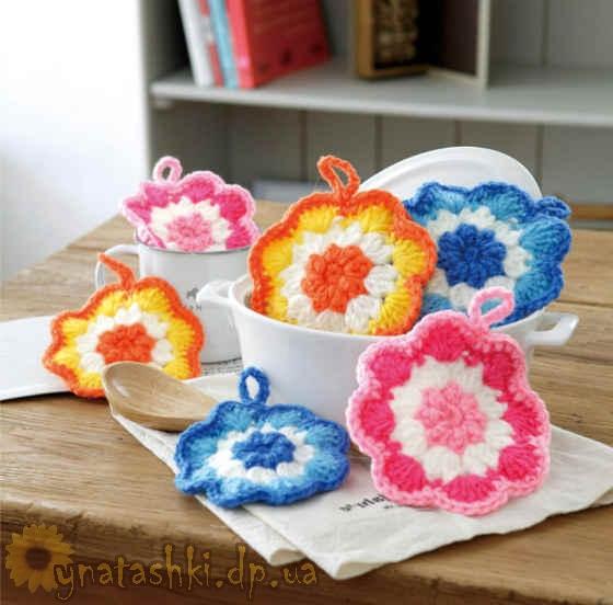 Вязаные салфетки для мытья посуды